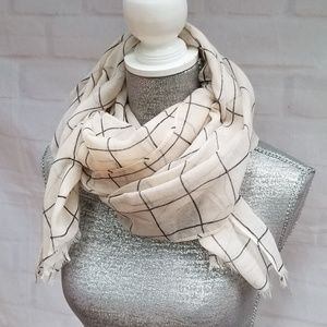 Rachel Pally Cream/Black Fringe Windowpane Scarf
